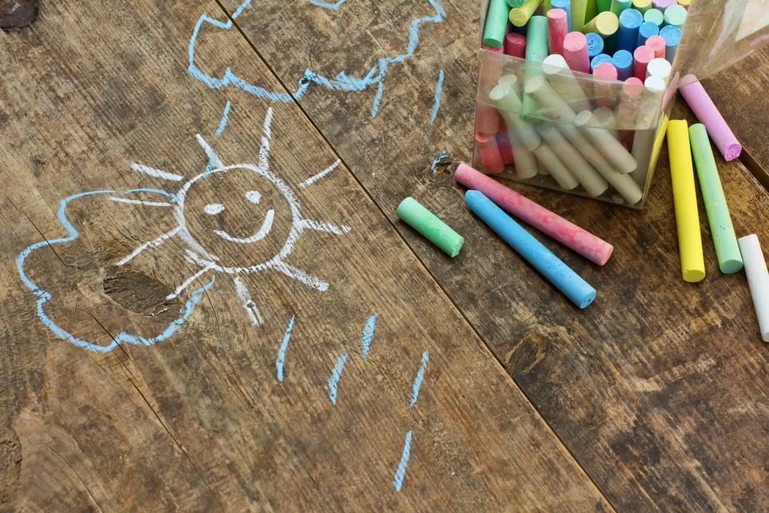Childrens chalk drawing