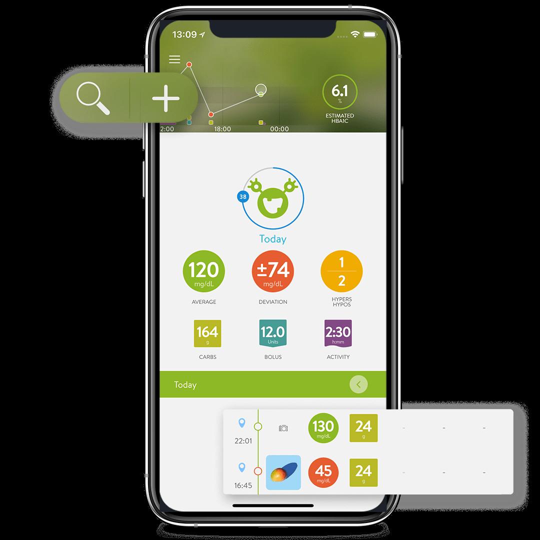 mySugr App smart search pattern feature