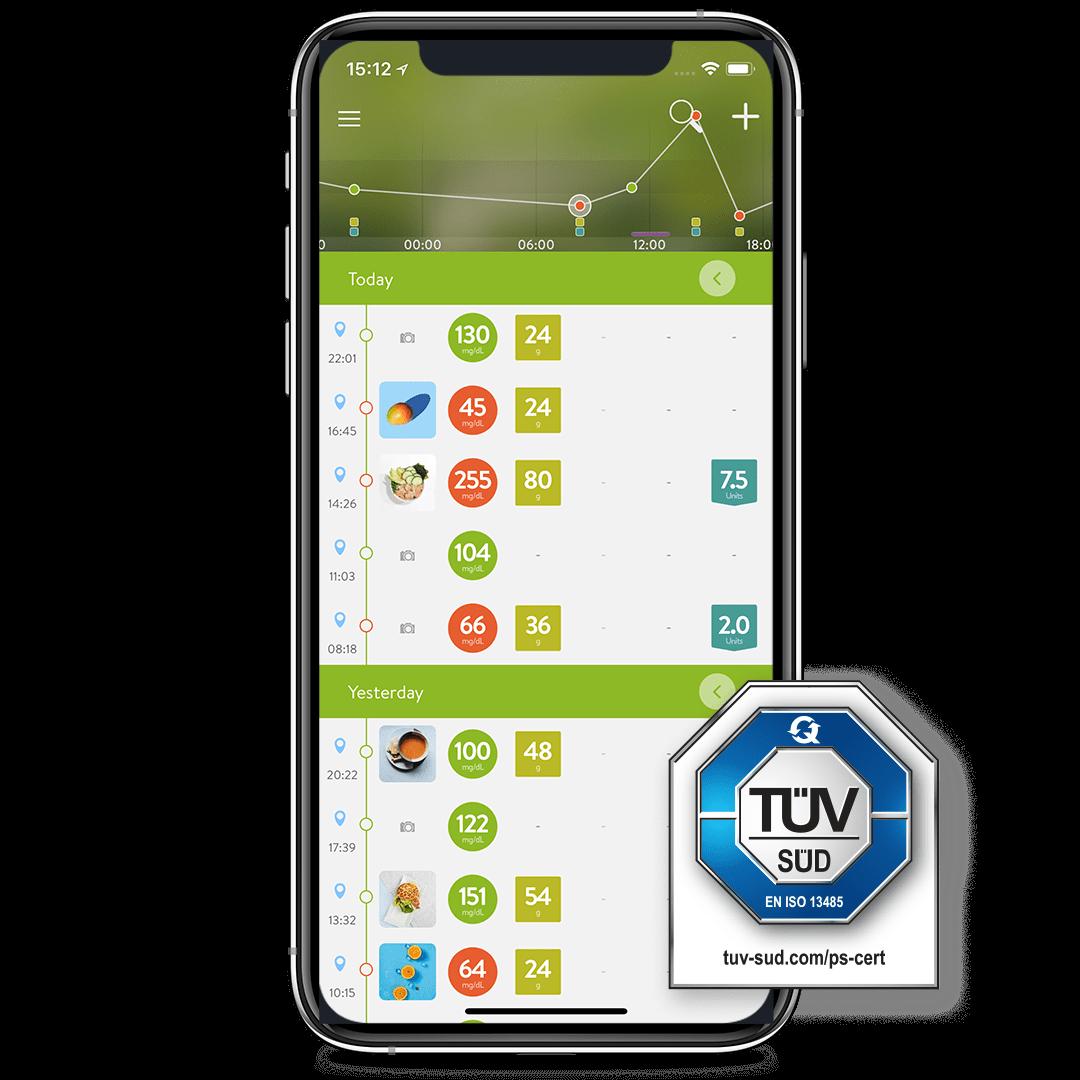 mySugr App with TÜV logo