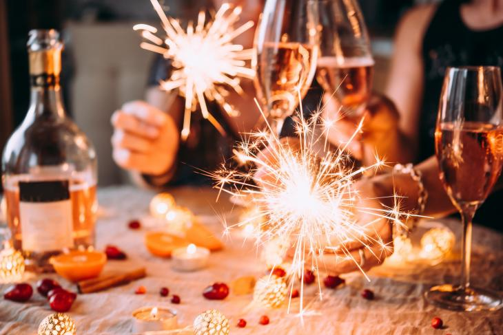 Holiday celebration with sparklers