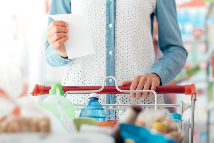 Woman shopping with cart
