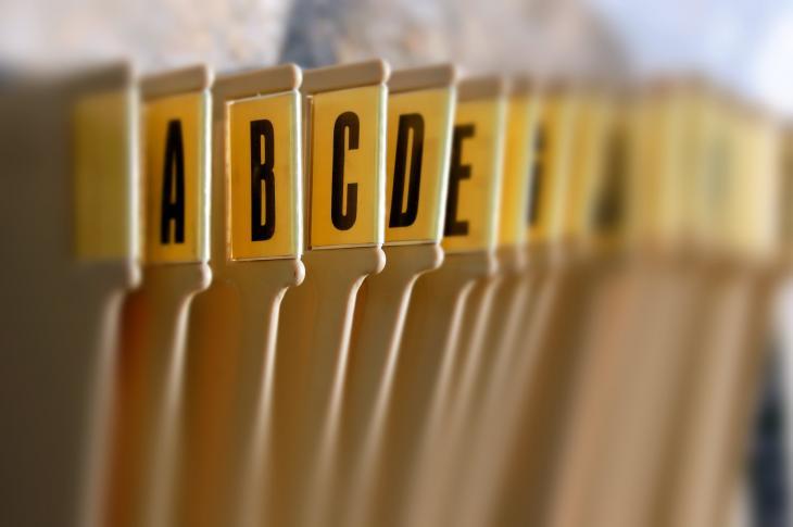Alphabetic file folders