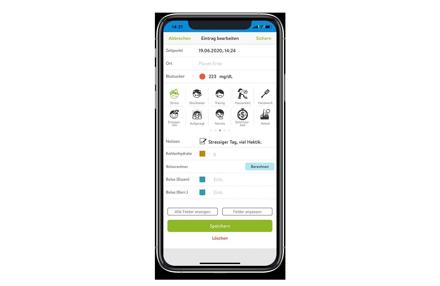 Handy mit Logbuch Eintrag mySugr App Screen
