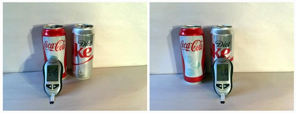 Results from testing regular Coke and Diet Coke with an accu-chek Aviva