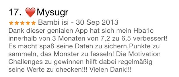 mysugr App Bewertung