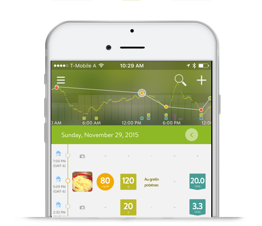 mySugr Logbook Screenshot with CGM Integration