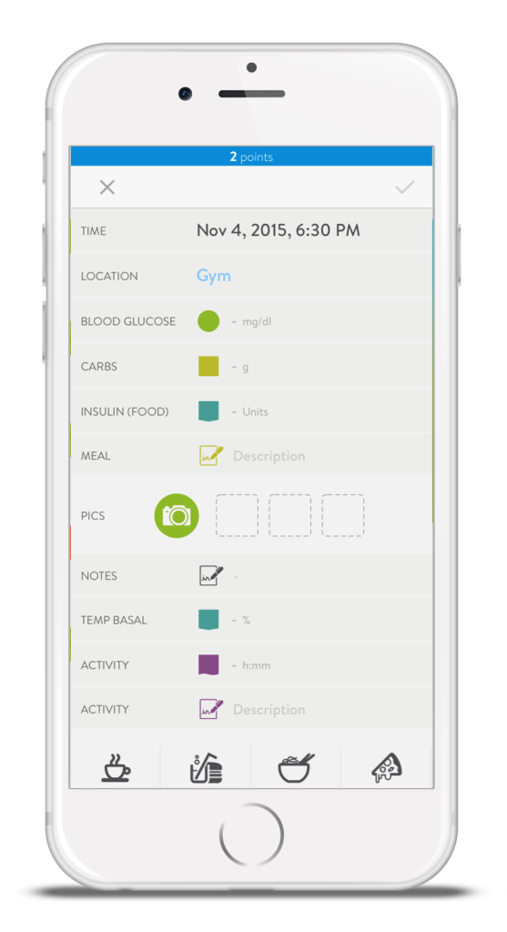 mySugr Logbook New Entry Screen