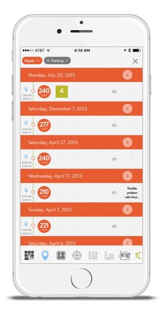 iPhone with mySugr Logbook showing search results