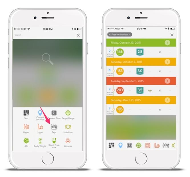 mySugr Logbook screens showing how tags can be used in search