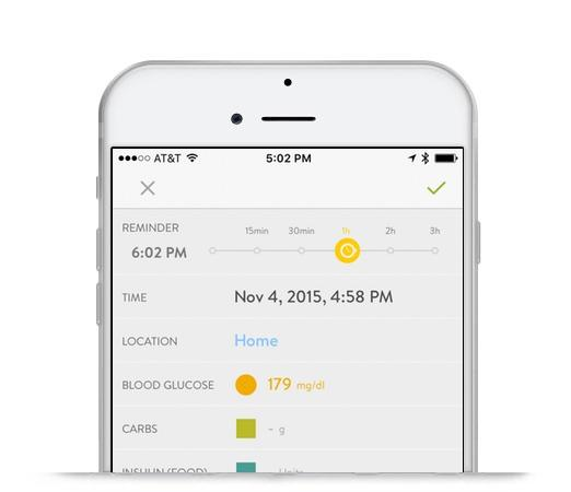 Screenshot of mySugr Logbook Reminders