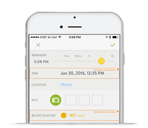 mySugr BG Reminder screen