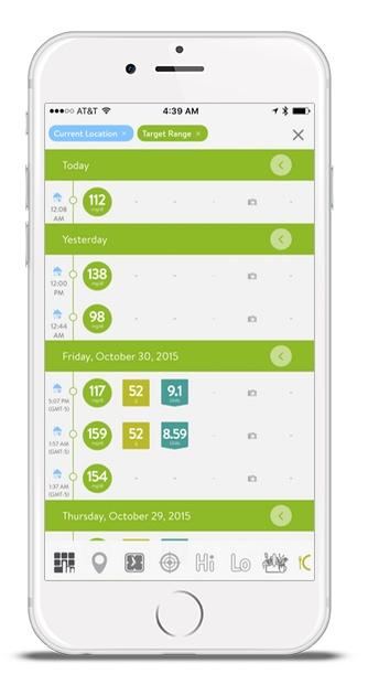 mySugr Logbook screen with search feature showing all in-target BG's logged at the current location