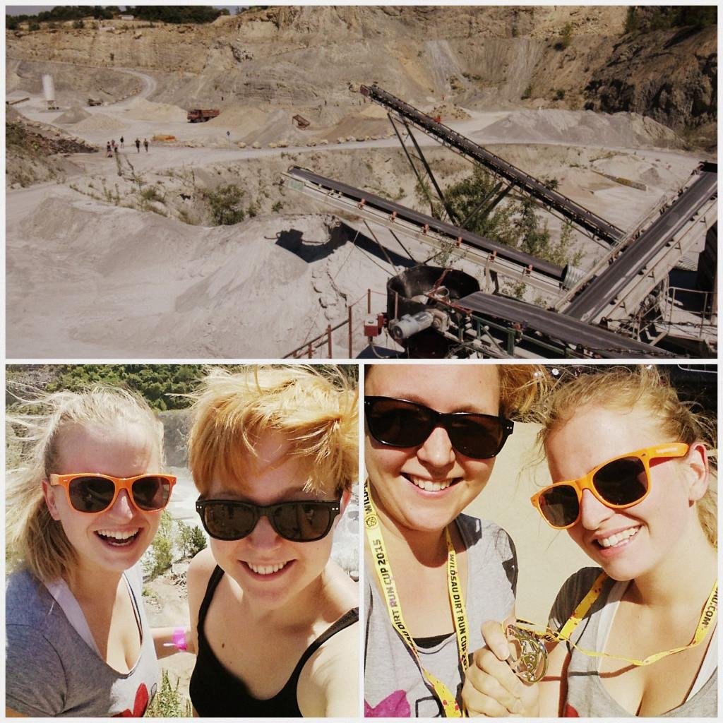 A collage of a cement quarry and before and after mud run selfies