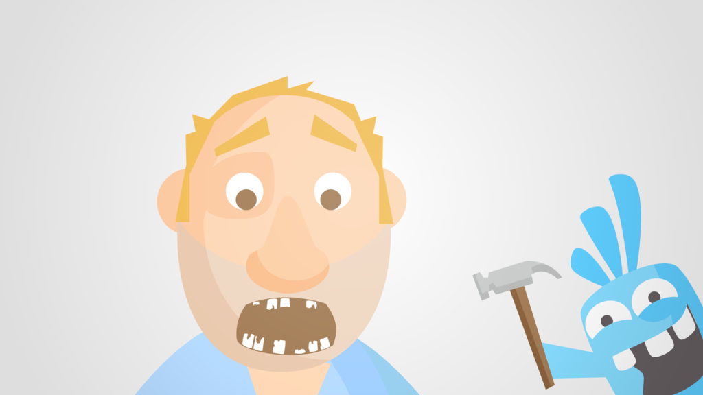 Illustrated image of shattered and damaged teeth