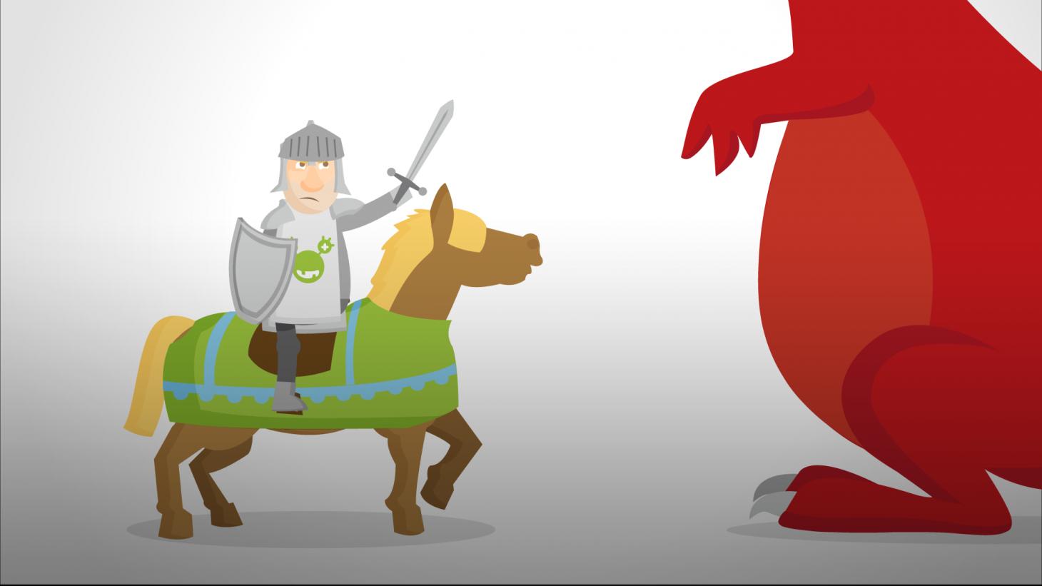 cartoon knight fighting a big dragon