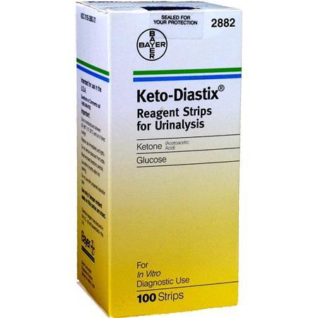 Box of Bayer's Keto-Diastix for measuring Ketones and Glucose in urine