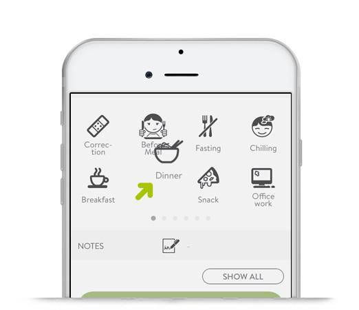 mySugr Logbook screen with tags being reordered