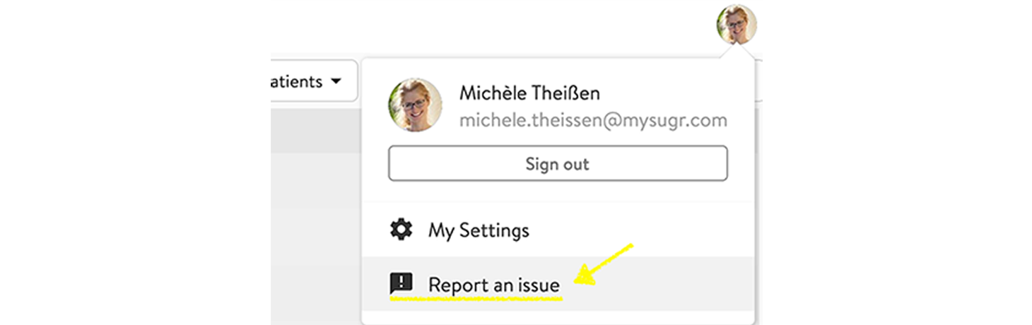 Screenshot on how to report an issue