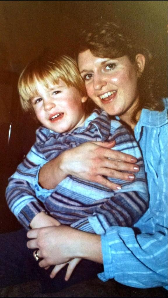 A young scott, six or seven years old, and his mom